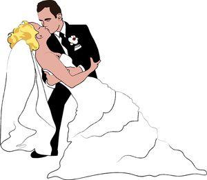 Bride And Groom Kissing Clipart Image - A Cartoon Clip Art ...