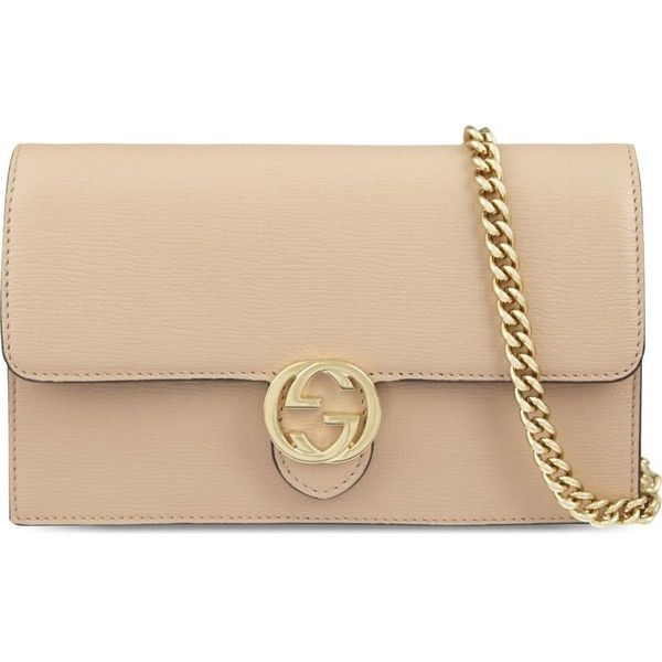 e087ca3afdc9 GUCCI Leather chain wallet ($785) ❤ liked on Polyvore featuring bags,  wallets, pink apricot, leather wallet, leather credit card holder wallet,  gucci, ...