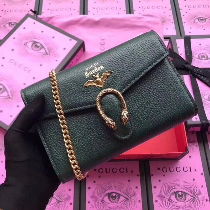 85490817b9d Gucci Garden Bat Dionysus Mini Chain Bag 516920 Dark Green 2018   Guccihandbags