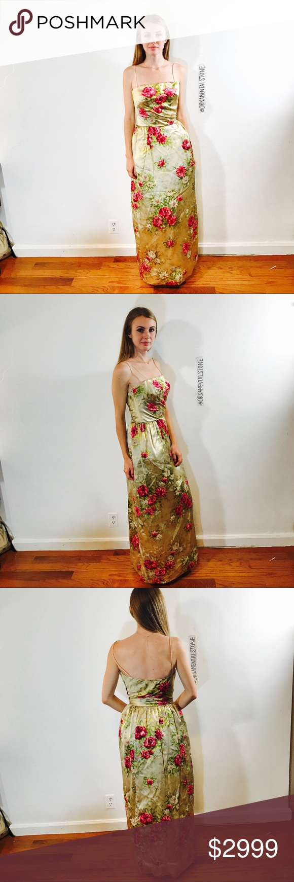 RIZIK BROS WASHINGTON DC VINTAGE COUTURE GOWN VELV Incredible couture gown, fit for a museum. Painted FLORAL VELVET, fitted. Model is size 2/4 for reference in fit. Minimal stretch Vintage Dresses