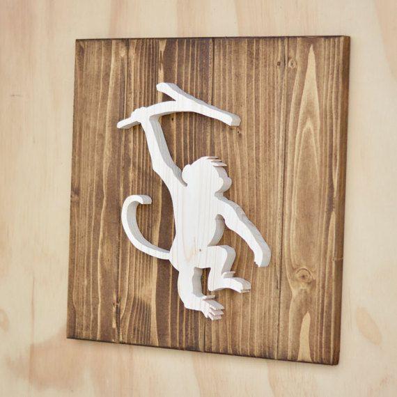 Monkey Wood Safari Animal Plaque Cutout 13 By SkipToothCreations