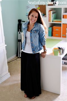 Jean jacket, white top, dark maxi-skirt, ballet flats probably ~  it needs some cool accessories. Easy enough!