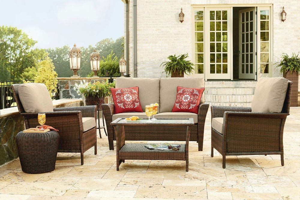 Patio Furniture Clearance Deep Seat W Cushions Family Set 4 Pc Outdoor Sets Sale Clearance Patio Furniture Outdoor Furniture Sets Wicker Patio Furniture Sets