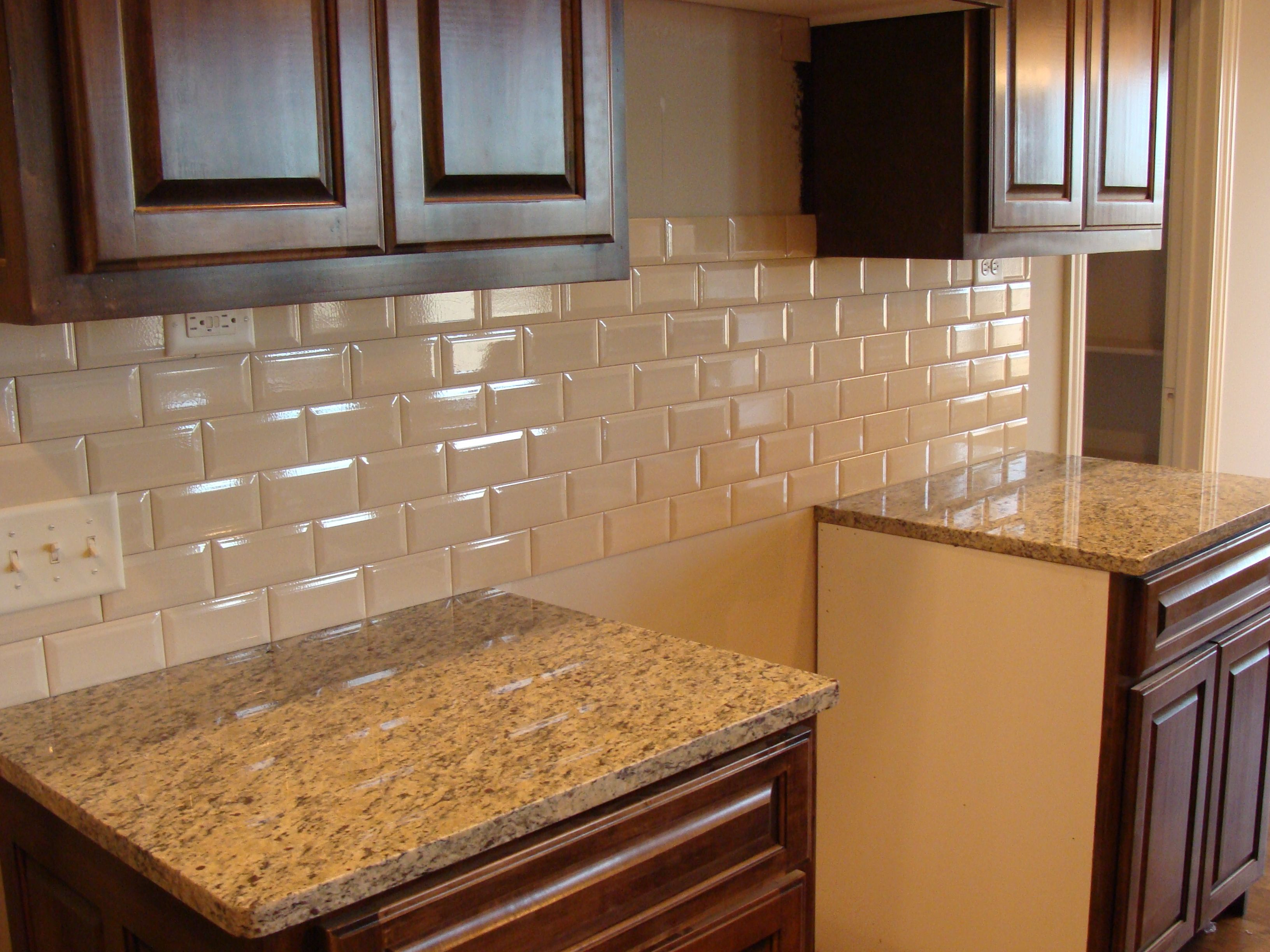 Image Result For Glass Cream Subway Tile Brown Cabinets Beveled