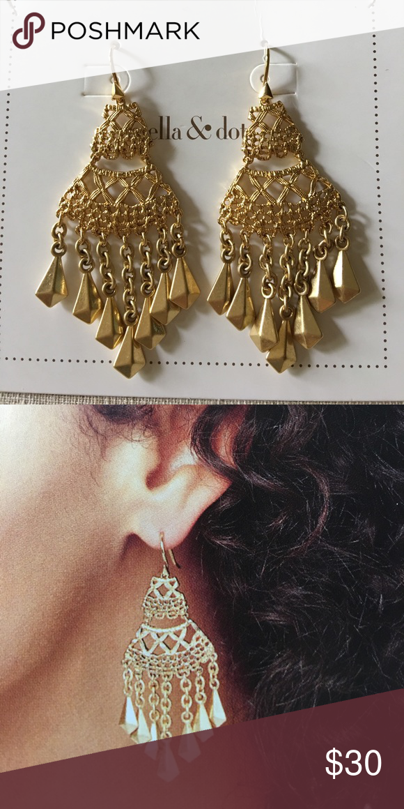Alila Lace Chandeliers Beautiful gold plated chandelier earrings. With lace design work. Gold teardrop beads hanging from small gold chain. Never worn with box. Stella & Dot Jewelry Earrings
