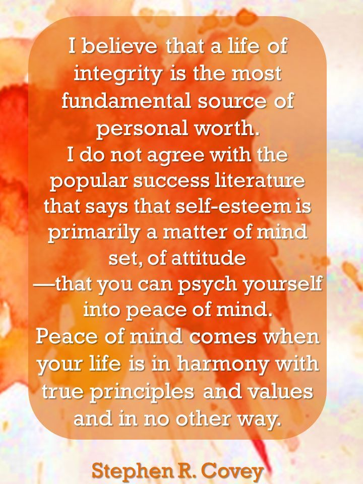 """I believe that a life of integrity is the most fundamental source of personal worth. I do not agree with the popular success literature that says that self-esteem is primarily a matter of mind set, of attitude - that you can psych yourself into peace of mind. Peace of mind comes when your life is in harmony with true principles and values and in no other way.  ~Stephen R. Covey"