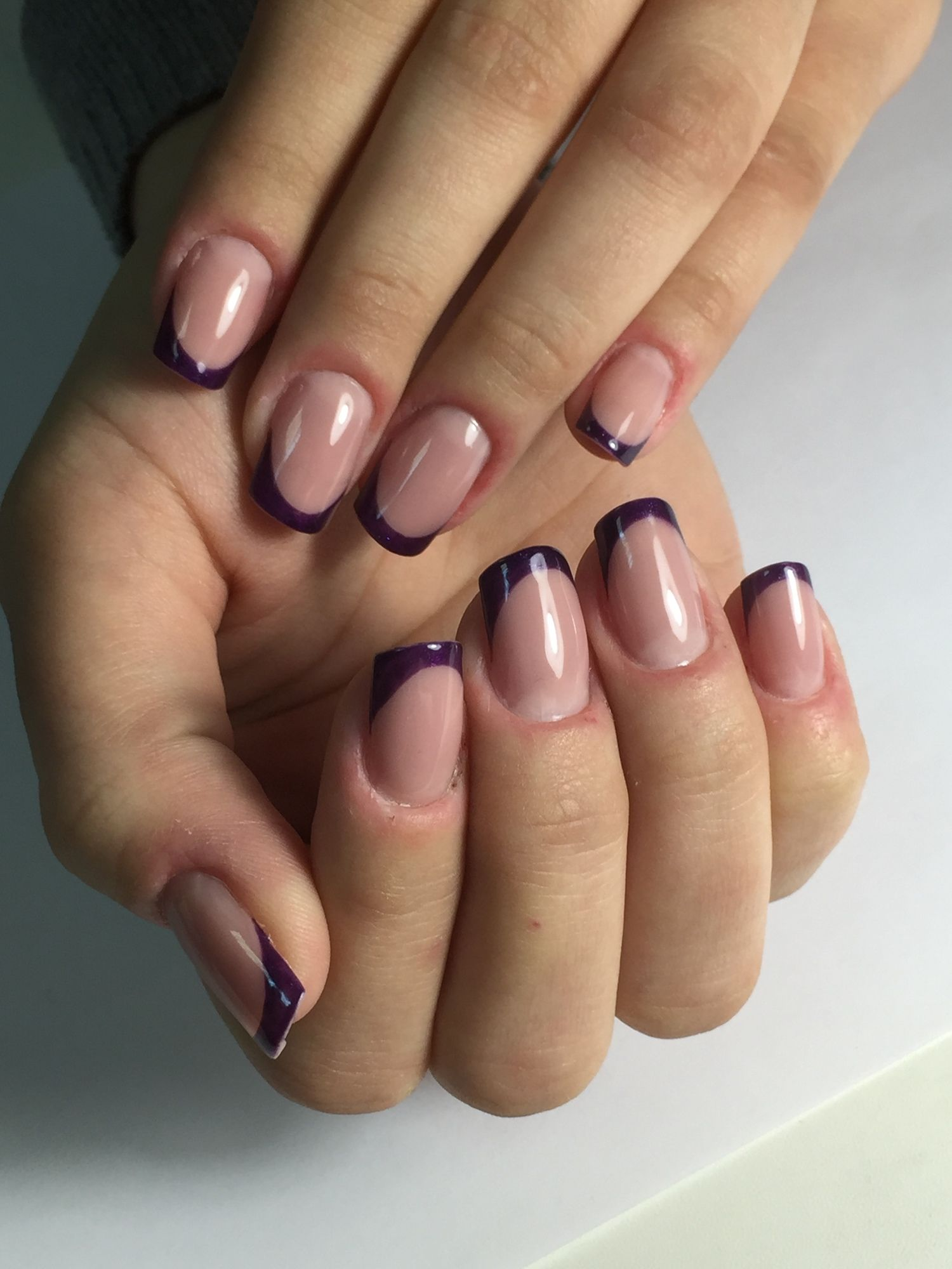 Gel nail extensions with french tips done using free hand. Soft ...