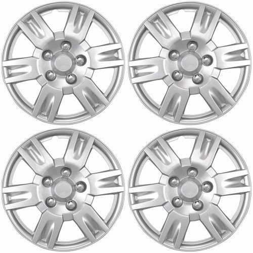 "4 PC Hub Caps ABS SILVER LACQUER 16/"" Inch Rim Wheel Skin Cover Center Cap Set"