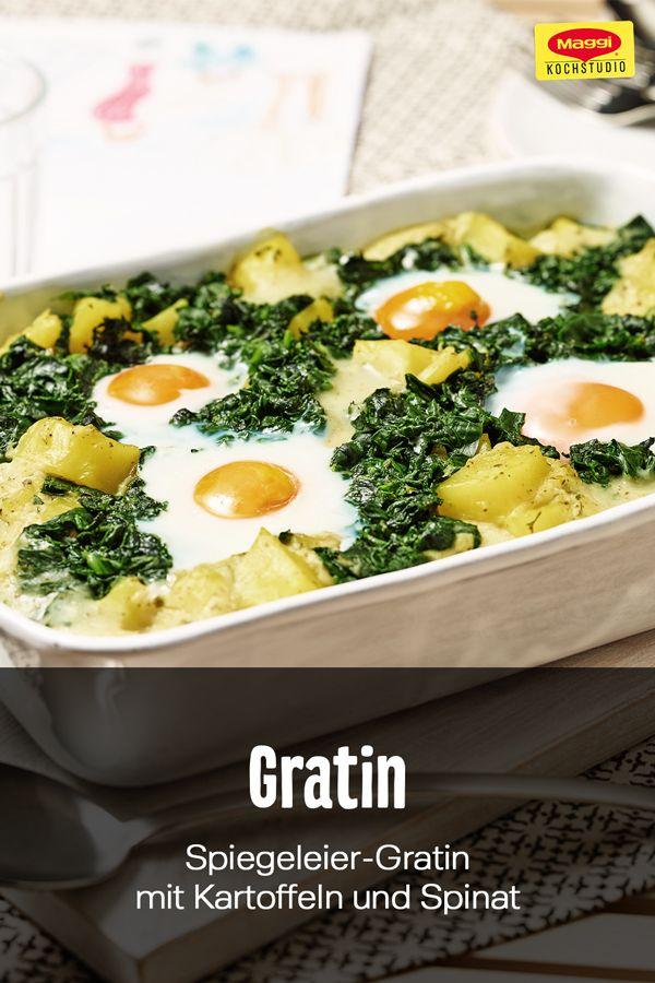 Spiegeleier-Gratin mit Kartoffeln und Spinat