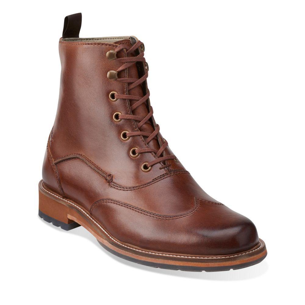 Arton Hi Mahogany Leather - Clarks Mens Shoes - Lace-ups and Slip-ons