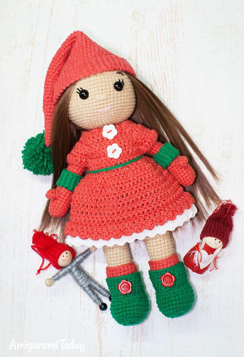 Christmas Doll crochet pattern | Amigurumi, Puppen und Hase häkeln