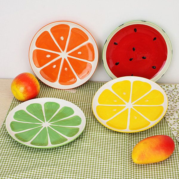 Lovely Hand Painted Plate Fruit Watermelon Lemon Ceramic Plate Creative Tableware  sc 1 st  Pinterest : ceramic plates to paint - pezcame.com