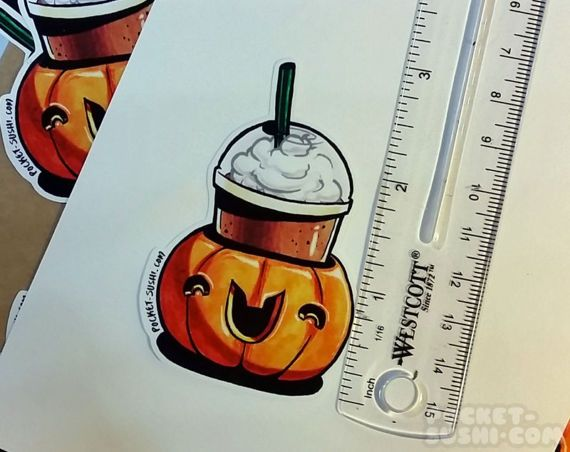 Pumpkin spice lattes & frappes are easily the best reason to look forward to fall! Oh, and Halloween of course!  At their widest, the small sticker measures about 3 (7.62cm) and the large sticker measures about 5 (12.7cm). They are printed on high-quality glossy polysheet with adhesive backing. You can stick it to most clean surfaces and each sticker is water & weather-proof! These stickers are permanent, however, so choose carefully where you want to stick them!  The original design ...