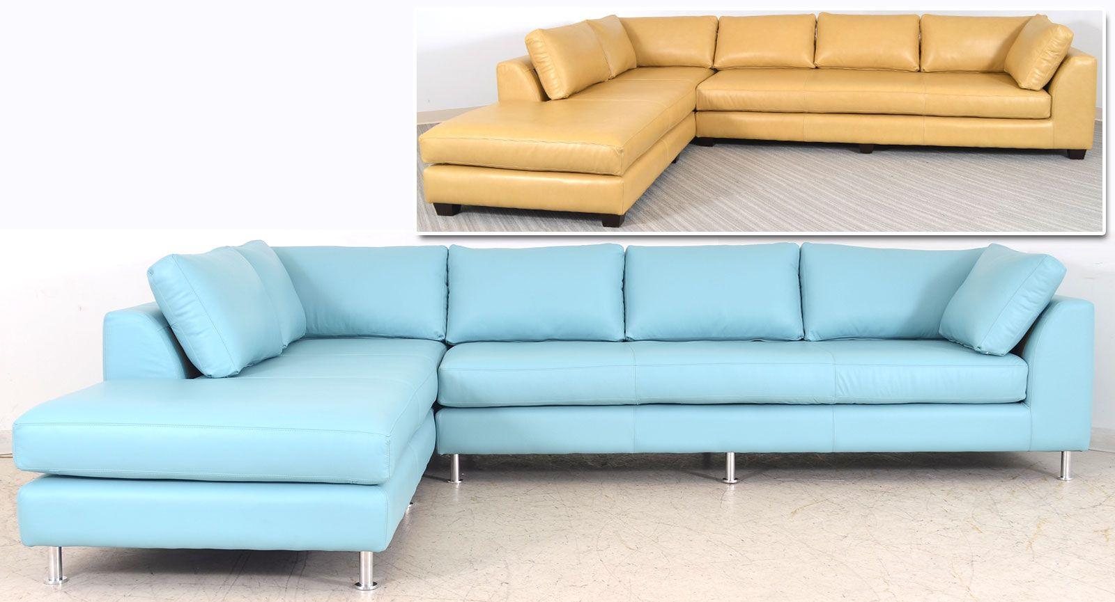 Tan Leather Or Sky Blue Leather Alexandria Sofa The Leather