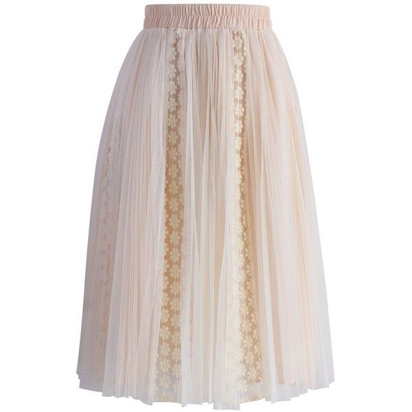 Chicwish Nude Floral Crochet Trimmed Tulle Skirt ($45) ❤ liked on Polyvore featuring skirts, beige, pink skirt, beige skirt, pink tulle skirt, tulle skirt and elastic waist skirt