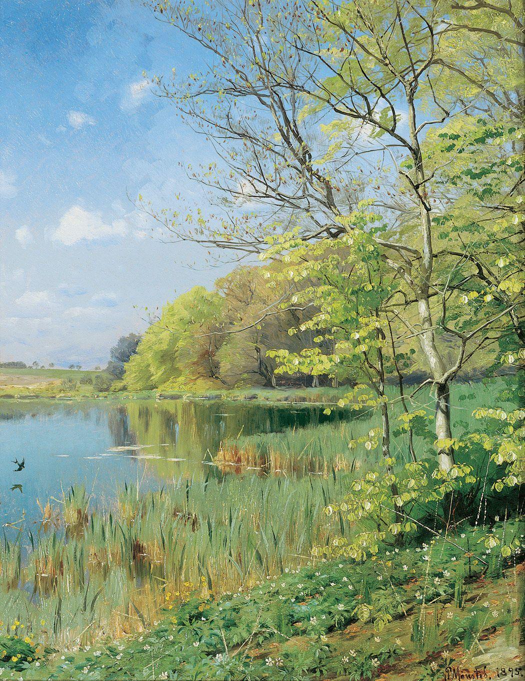 Peder Mork Monsted 1859 1941 The First Swallow 1895 Landscape Paintings Landscape Art Landscape