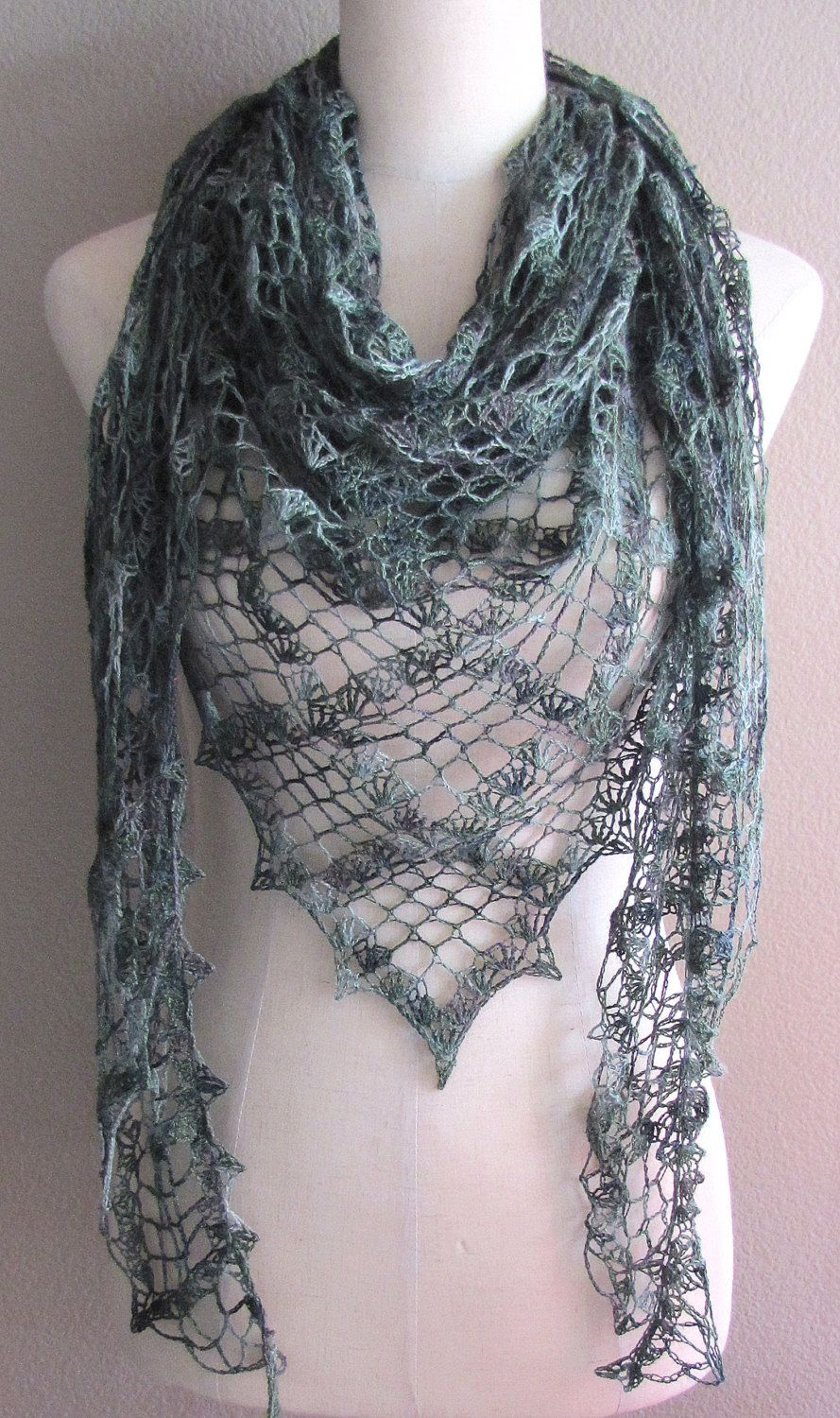 8792c55a80e5b Green And Brown Camouflauge Lace Crochet Shawl Baby Alpaca Silk Yarn  Handmade Versatile Lightweight Triangle Scarf Wrap by izaisenRework on Etsy
