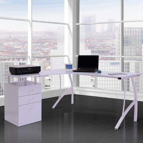 L Shape Executive Desk Homcom Colour White With Images L Shaped Executive Desk Home Office Design Desk