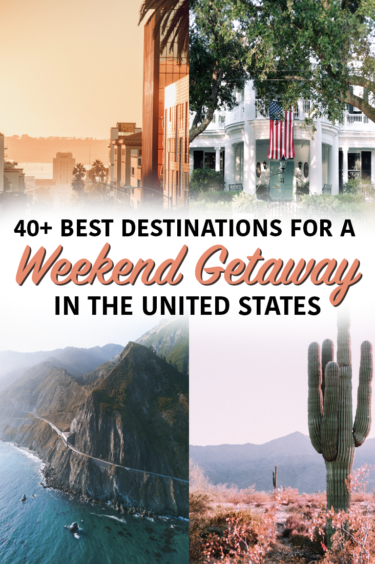 40+ of the best places in the United States for a weekend getaways - city breaks, small towns, mountain escapes, dessert destinations, and sand and sun. #travel #unitedstates #getaway