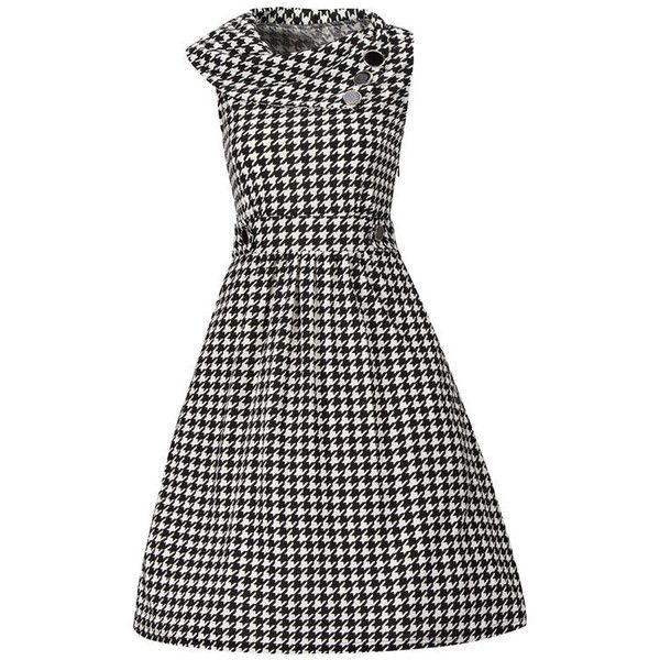 Fold-Over Collar Decorative Button Houndstooth Skater Dress (€27) ❤ liked on Polyvore featuring dresses, houndstooth dress, embellished skater dress, collar skater dress, white embellished dress and skater dress