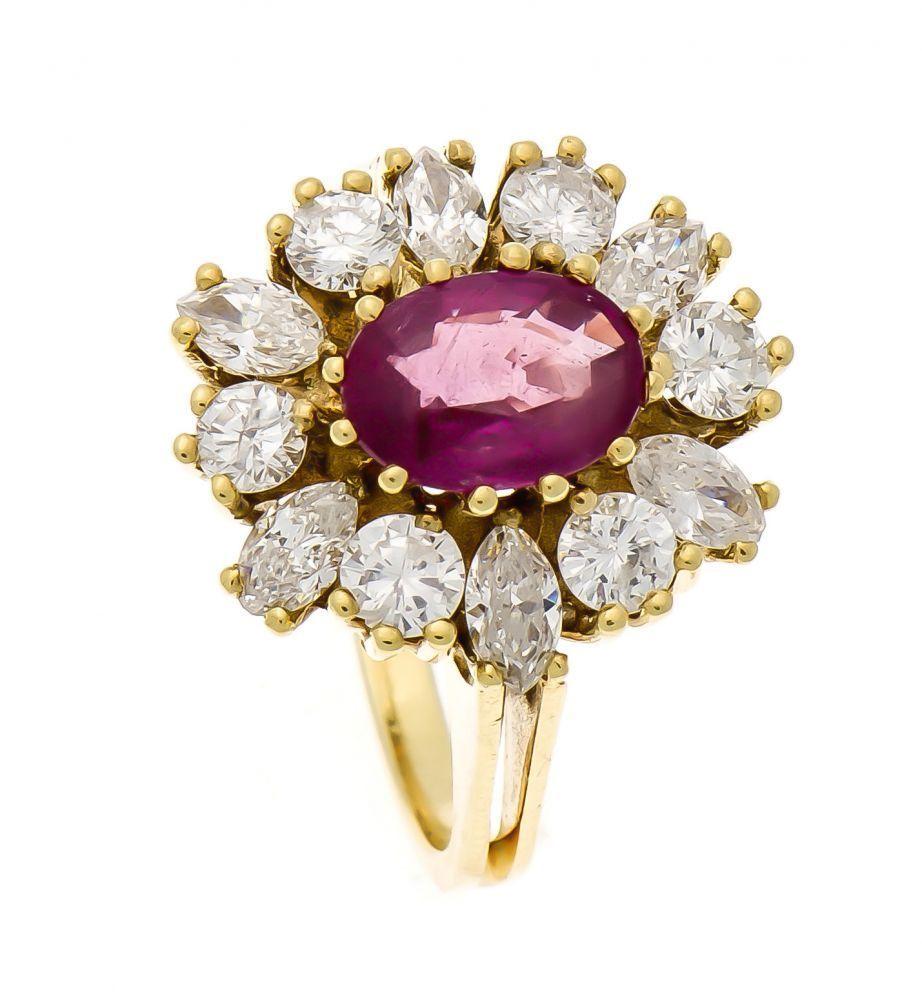Rubin-Brillant-Ring GG 585/000 mit einem oval fac. Rubin 9 x 6 mm in guter Farbe, 6Brillanten, zus. — Schmuck