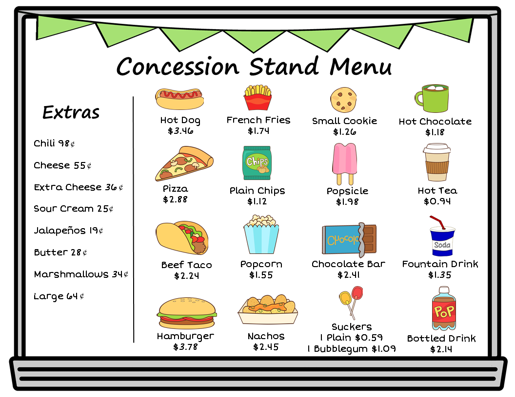 Money Counting Money And Making Change Making Change Money Make A Change Concession Stand Menu [ 816 x 1056 Pixel ]