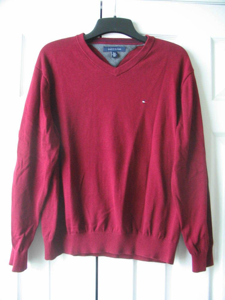 TOMMY HILFIGER Size XL V-Neck Cotton Sweater Pullover Stretch Long Sleeves #TommyHilfiger #VNeck