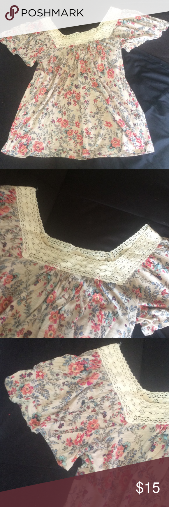 Beautiful floral tan top A heathered tan with a soft floral pattern throughout. A square neck embroidered lace. Short bell sleeves. Excellent condition! No signs of wear, snags or stains. Bundle for further discounts! Forever 21 Tops