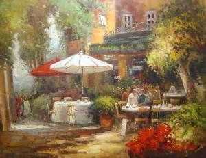 Outdoor French Cafe Painting