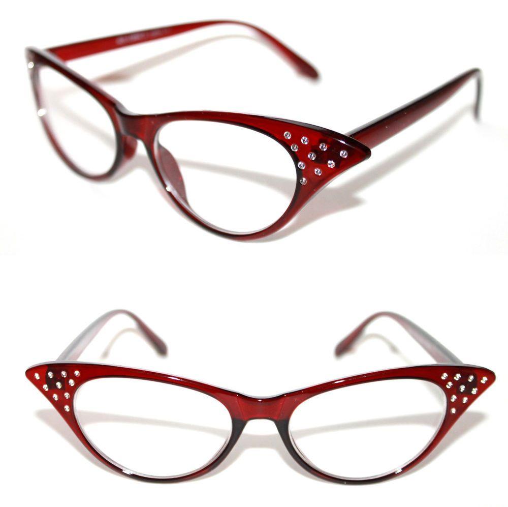f5976cfae16 Cat Eye Vintage Eye Glasses Red Clear Frame Rhinestone 50 s small Pin Up  306  Stars  CatEye