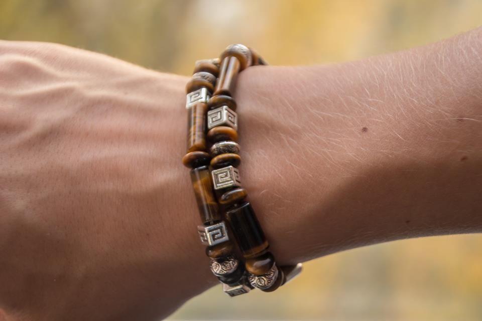 "Men's bracelet ""Voyager"", handmade item from tiger-eye stone and bijou metal #handmade #bracelet #bijou"