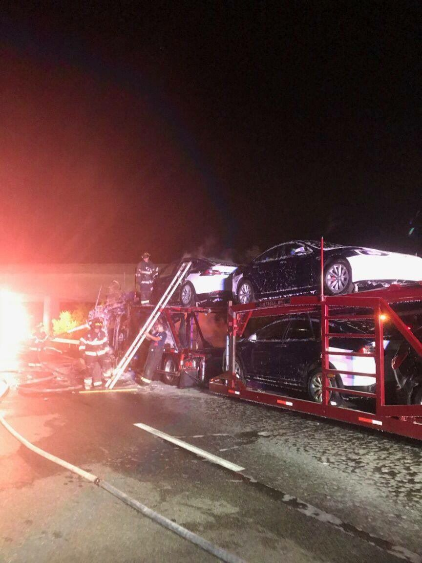 bunch of teslas burnt as the semi trailer catches fire while rh pinterest com