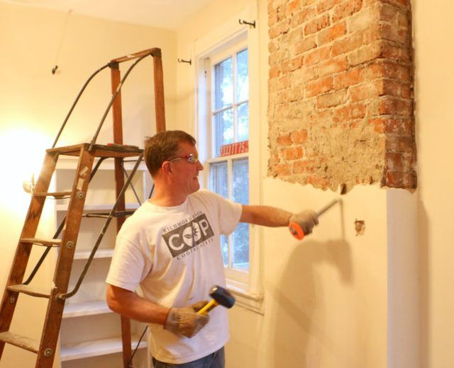 How to Remove Plaster From a Brick Chimney   Wooden ladder, Bricks ...