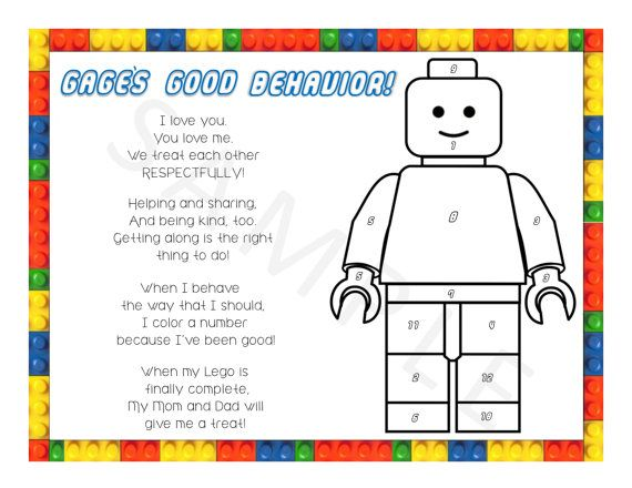 Personalized Lego Color The Number Behavior Chart By Dunnwiththree