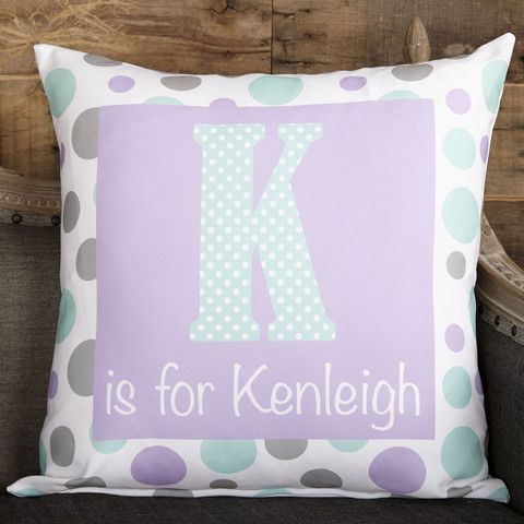 """Custom Design Lavender Dots Girl Letter """"is for"""" Pillow Cover – Lolly Wolly Doodle"""