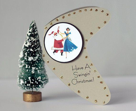 Retro Christmas Card Mid Century Modern Atomic Boomerang Retro Christmas Cards Funny Christmas Cards Christmas Cards