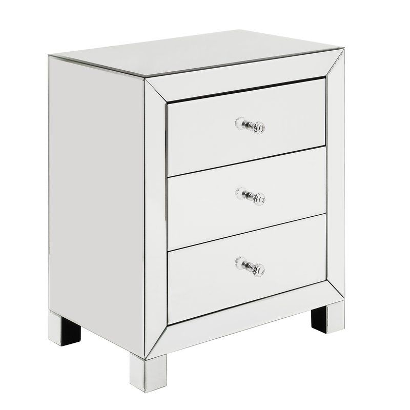 Jordao 3 Drawer Accent Chest Mirrored Accent Table Mirrored End Table Luxurious Bedrooms