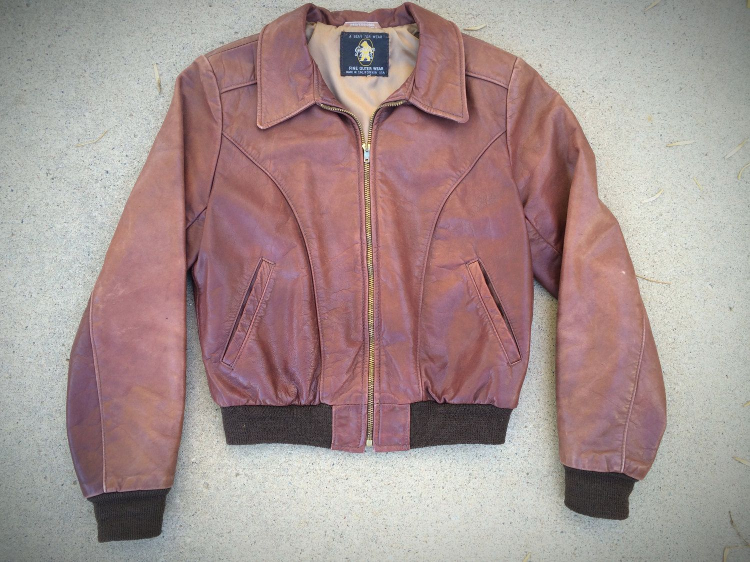 Vintage 50s 60s Golden Bear Leather Motorcycle Bomber Jacket Men's S Women's  M