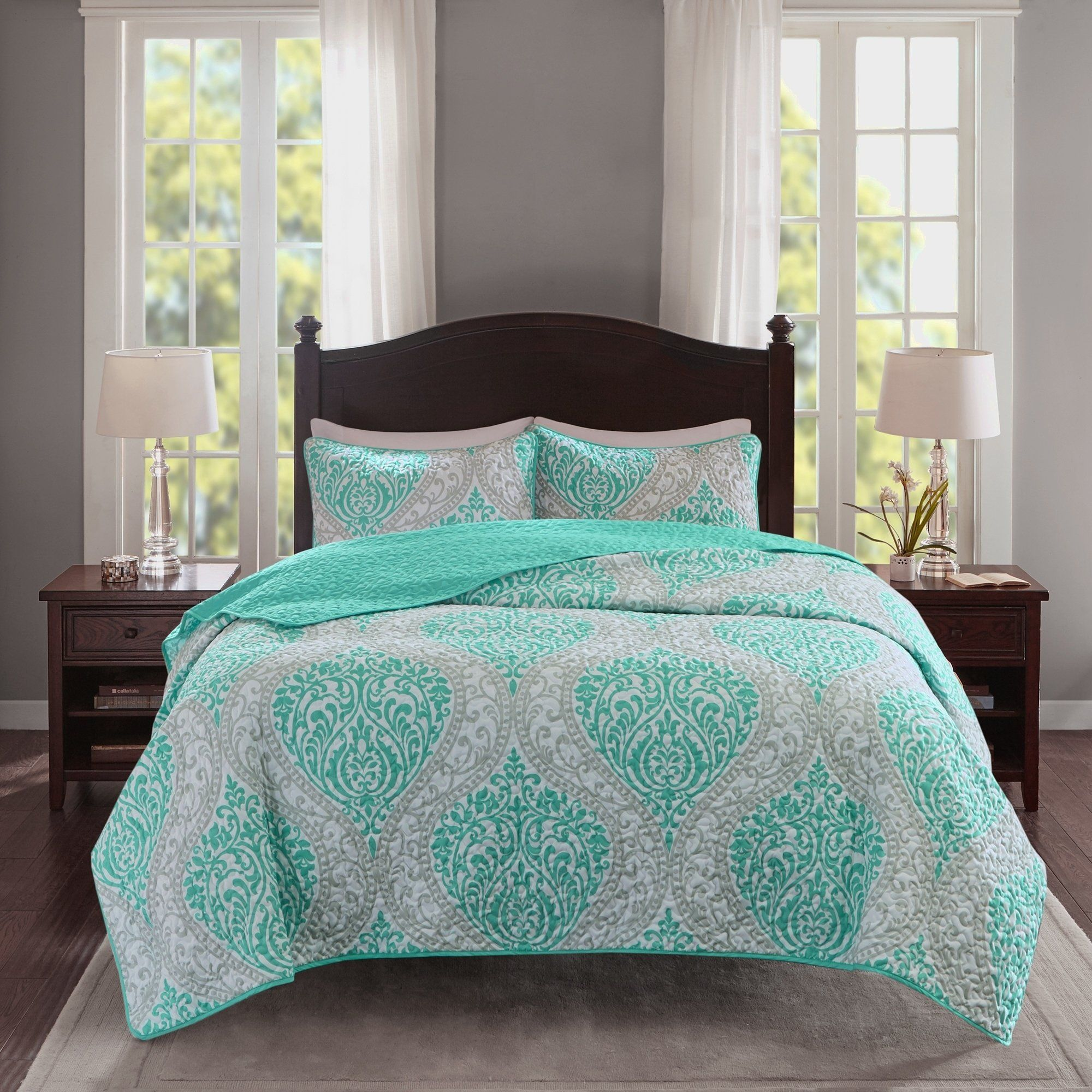 Coco Comforter Set Piece Black And White Printed Damask Pattern Full//Queen Size,