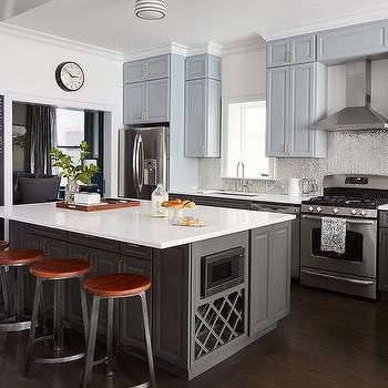 Blue Upper Cabinets and Gray Lower Cabinets | Kitchen ...