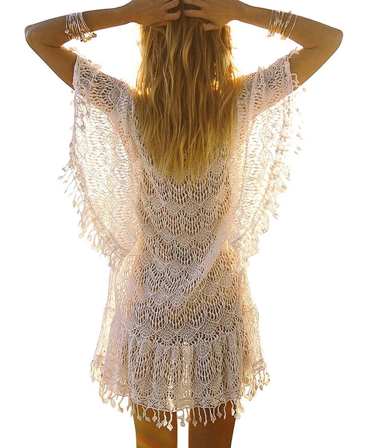 7295e818f0eda Women's Clothing, Swimsuits & Cover Ups, Cover-Ups, Women's Lace Crochet  Bikini