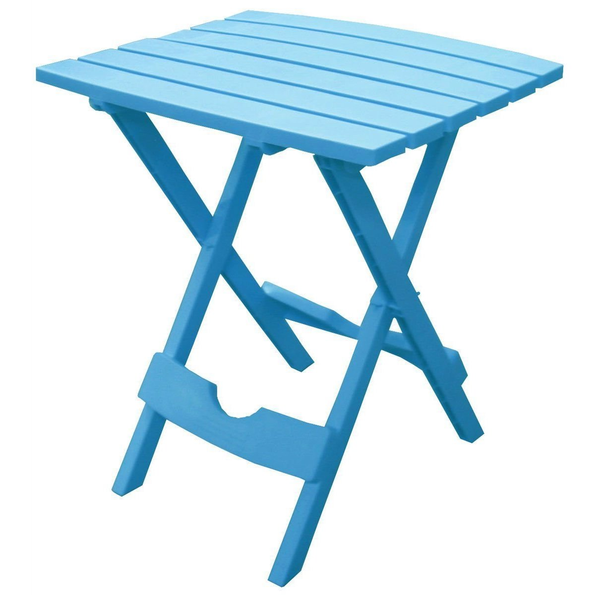 Pool blue folding side table in durable patio furniture plastic