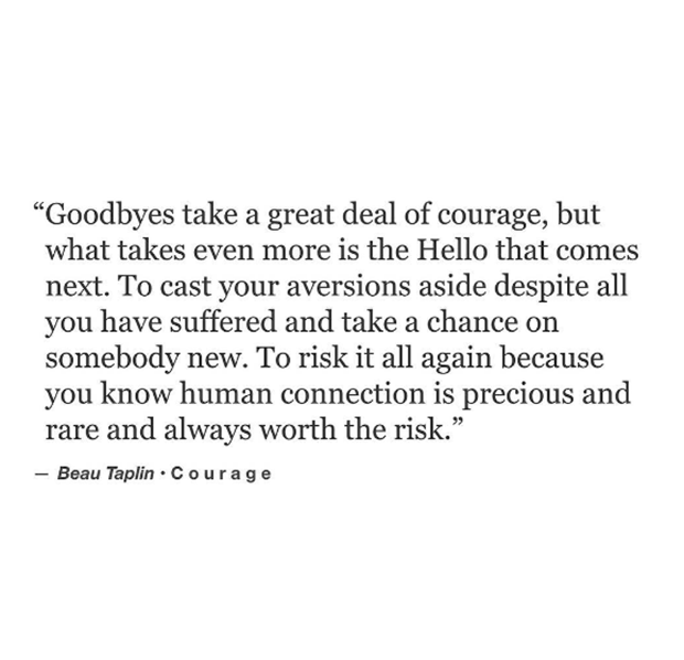 Goodbyes Take A Great Deal Of Courage But What Takes Even More Is The Hello That Comes Next To Cast Your Aversion Chance Quotes Love Risk Quotes Risk Quotes