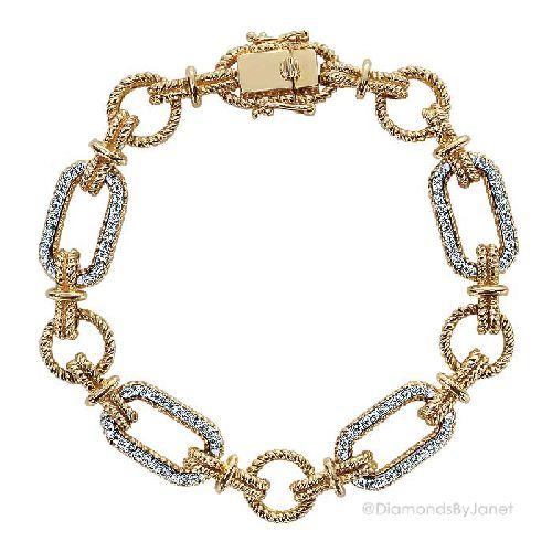 14k Two-Tone Gold Link Tennis Bracelet. Diamonds .46 ct. #diamonds #diamondbracelet #tennisbracelet