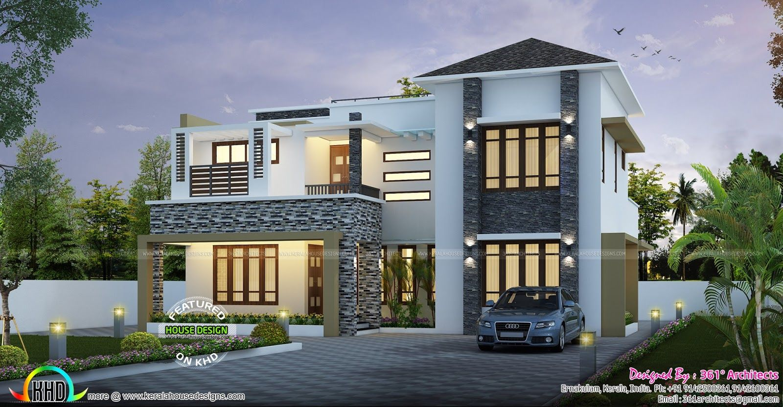 Sq ft modern contemporary home kerala home design floor for Contemporary indian house elevations