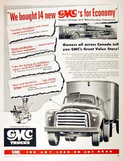 1951 Gmc Trucks Original Vintage Advertisement Endorsement By