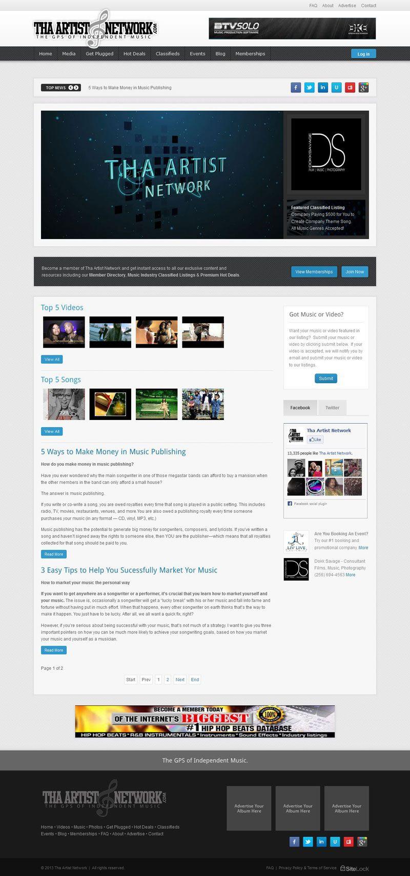 Tha Artist Network Music Industry Social Networking Site Custom Magazine Style Joomla Web Template Theme For T Social Networking Sites Web Design Joomla