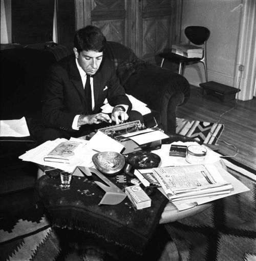Leonard Cohen working