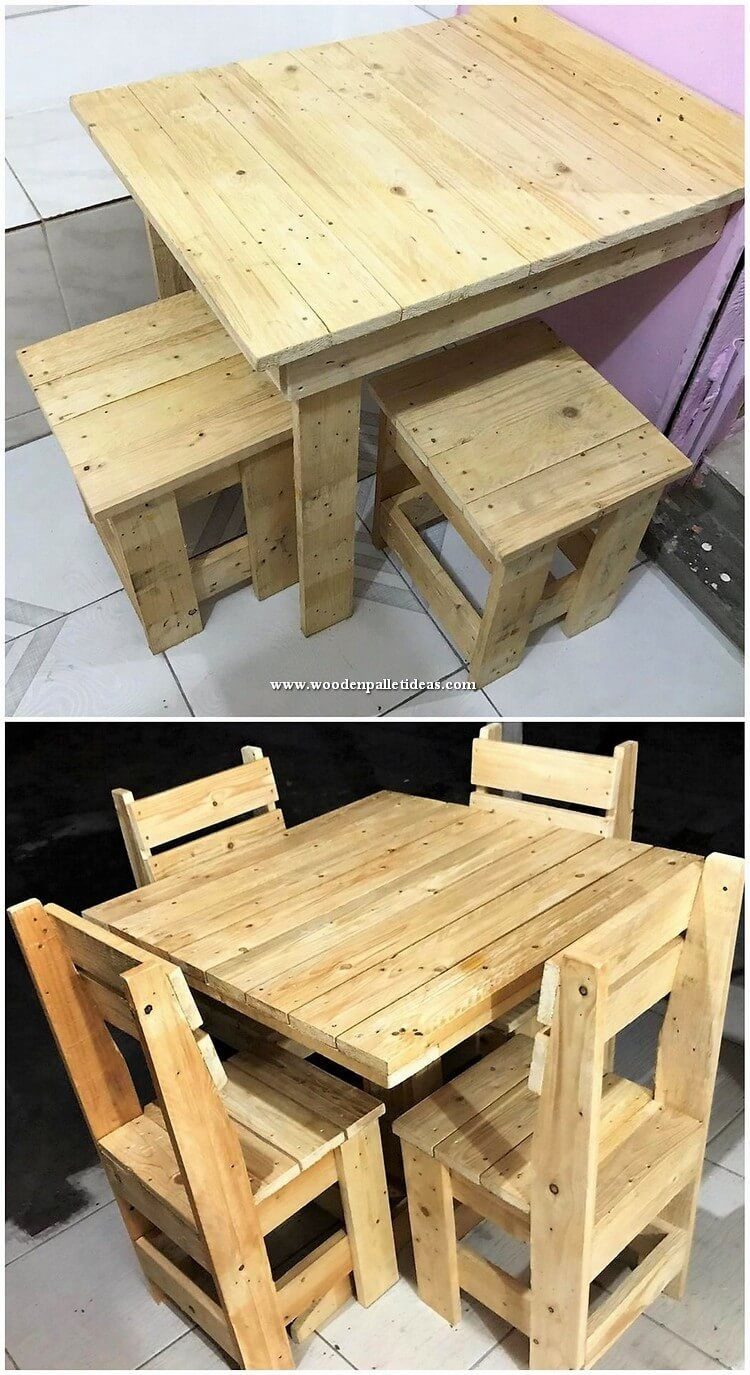 As There Are So Many Designs And Ideas Of The Table And Stools Fixture Is Being Settled For Your House But Majority Wood Pallets Wood Diy Diy Pallet Projects