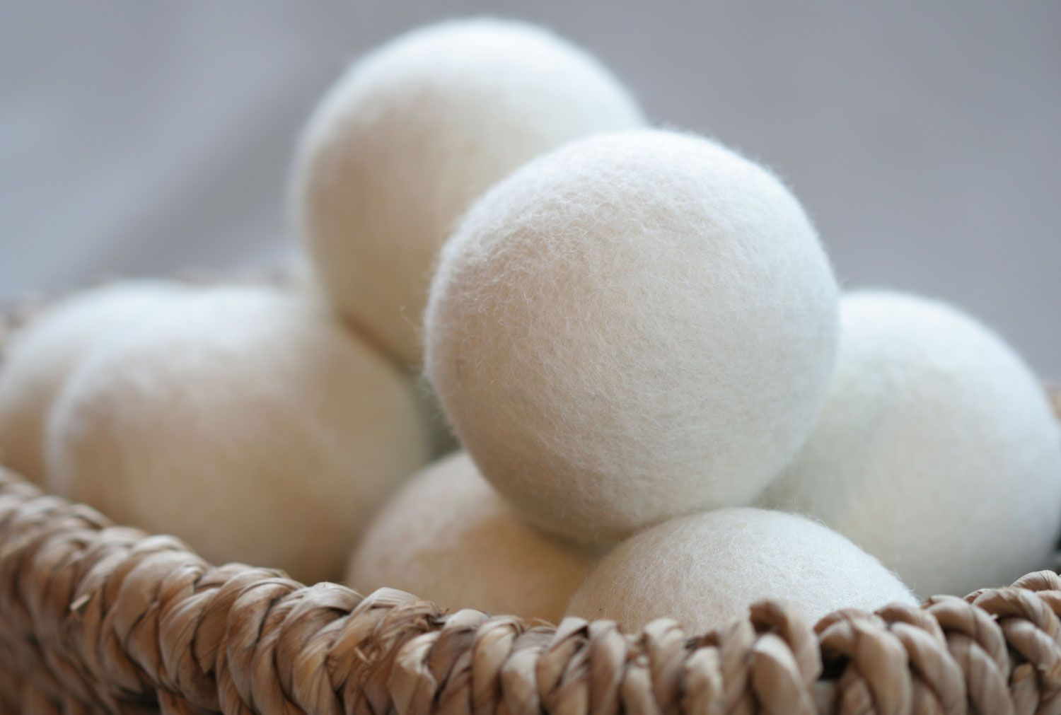 Basket Of Heart Felt Dryer Balls Used To Speed Up Clothes